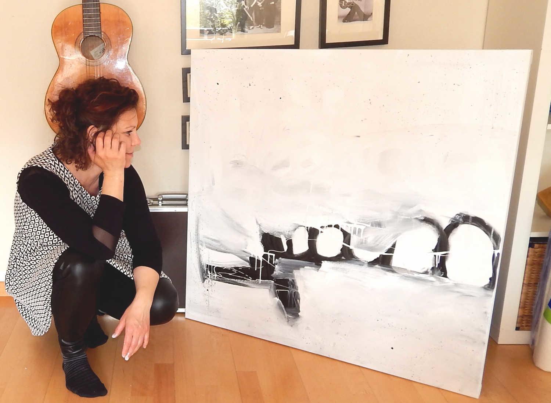schwarz weiß Gemälde 100 x 100 cm