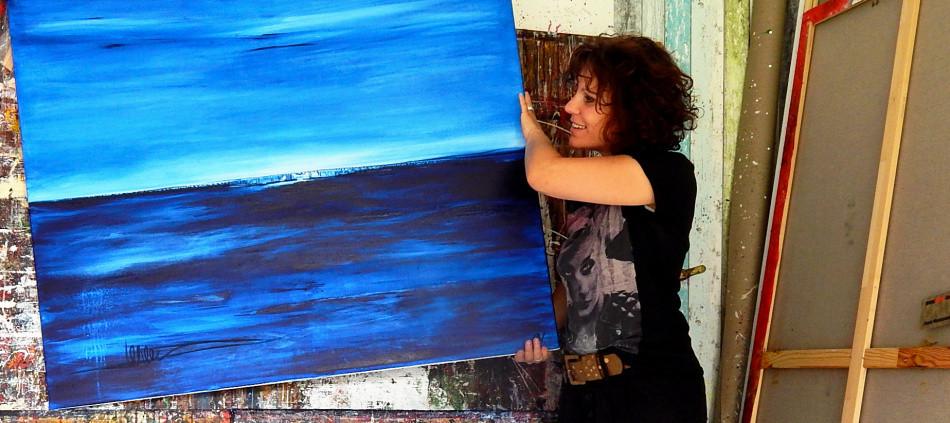 bild blau gemalt