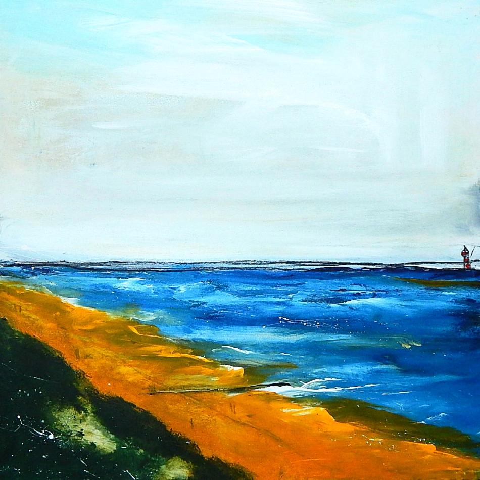 Gemälde abstrakt Meer, Strand - Erinnerungsgedanken . 80 x 80 cm