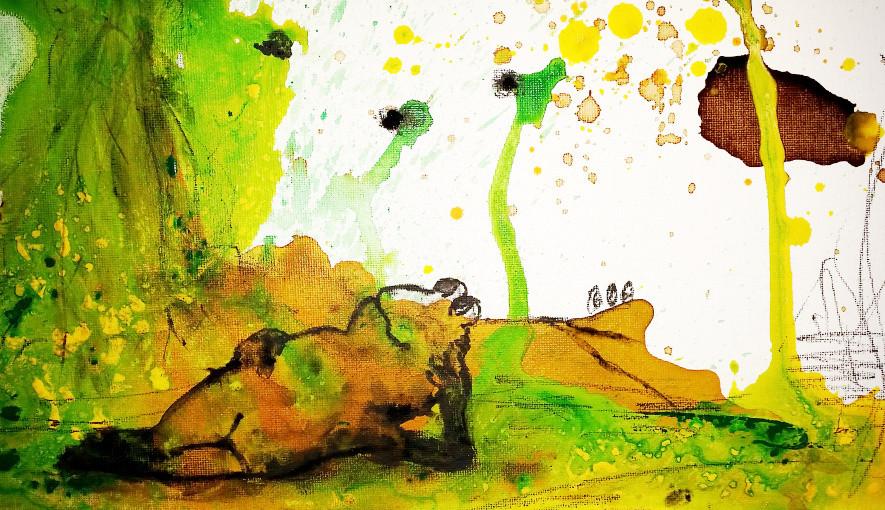 In aller Ruhe - Froschbild auf Malpappe in 30 x 40 cm
