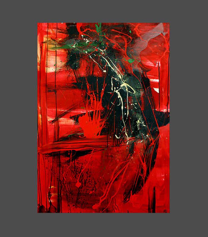 rotes abstraktes Bild - Expressionismus - Titel: Liebesnacht