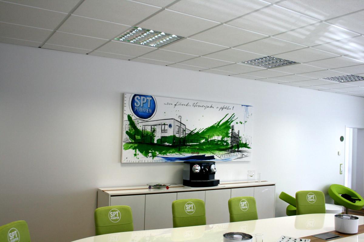 Söndgerath Pumpen beauftragten mich, zwei Werke für den Konferenzraum zu malen. Anbei zeige ich die Bilder je in meinem Atelier und wie sie dann im Raum selbst wirken. http://www.spt-pumpen.de