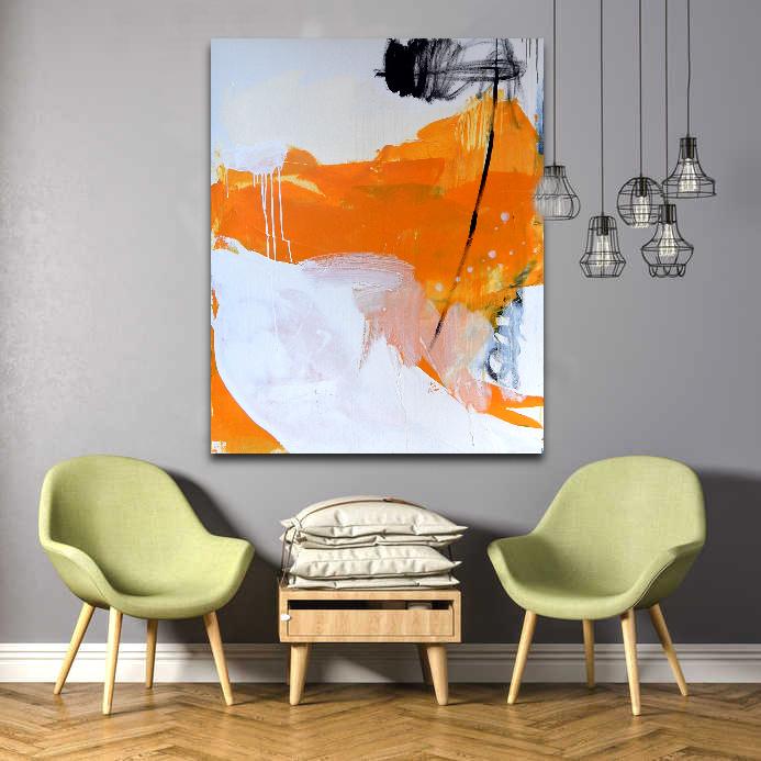 Gemälde abstrakt in gelb