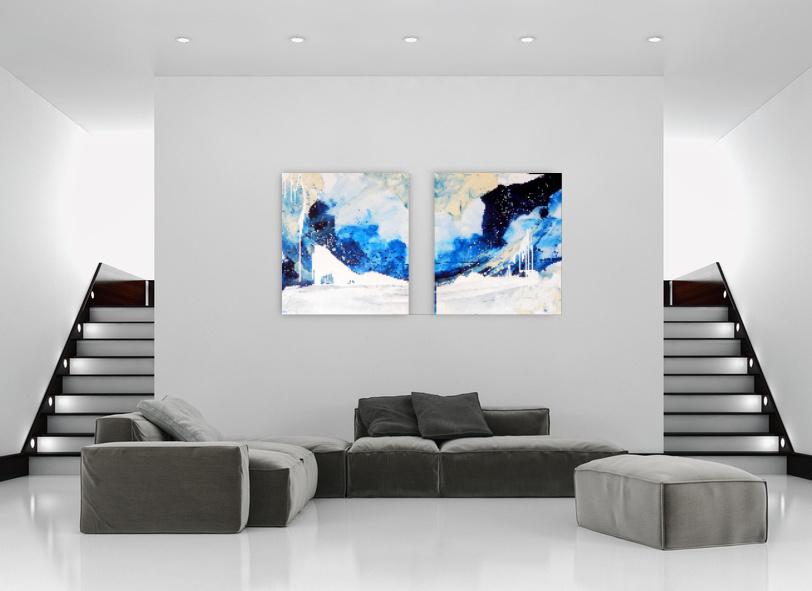 blau weißes Bild