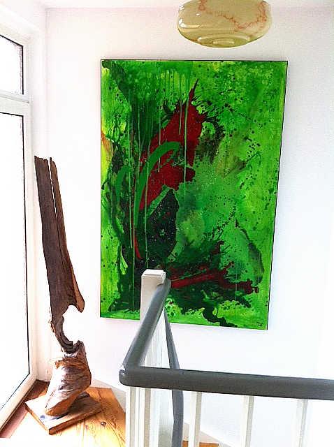 abstraktes grünes Bild Treppenaufgang