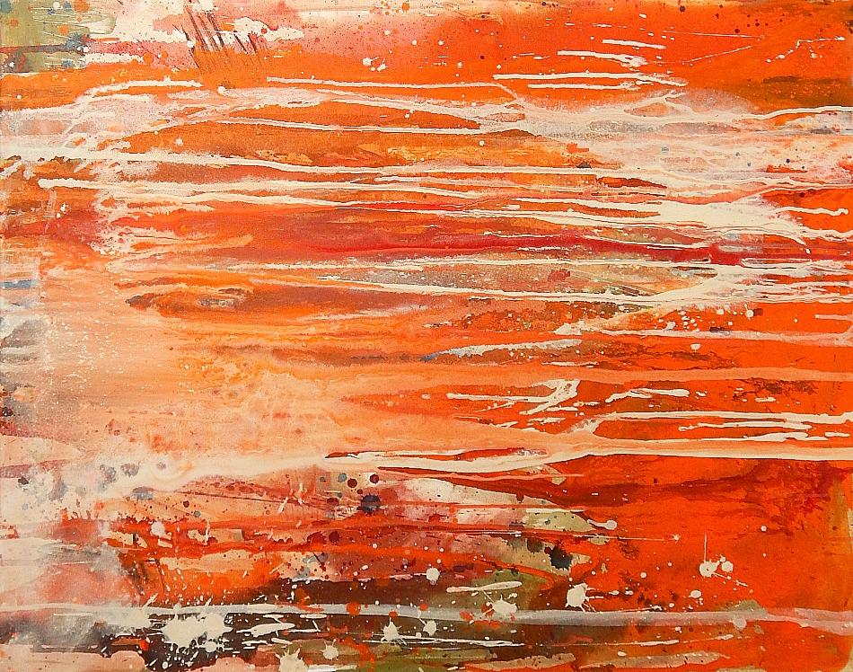 abstraktes Gemälde in orange kunst