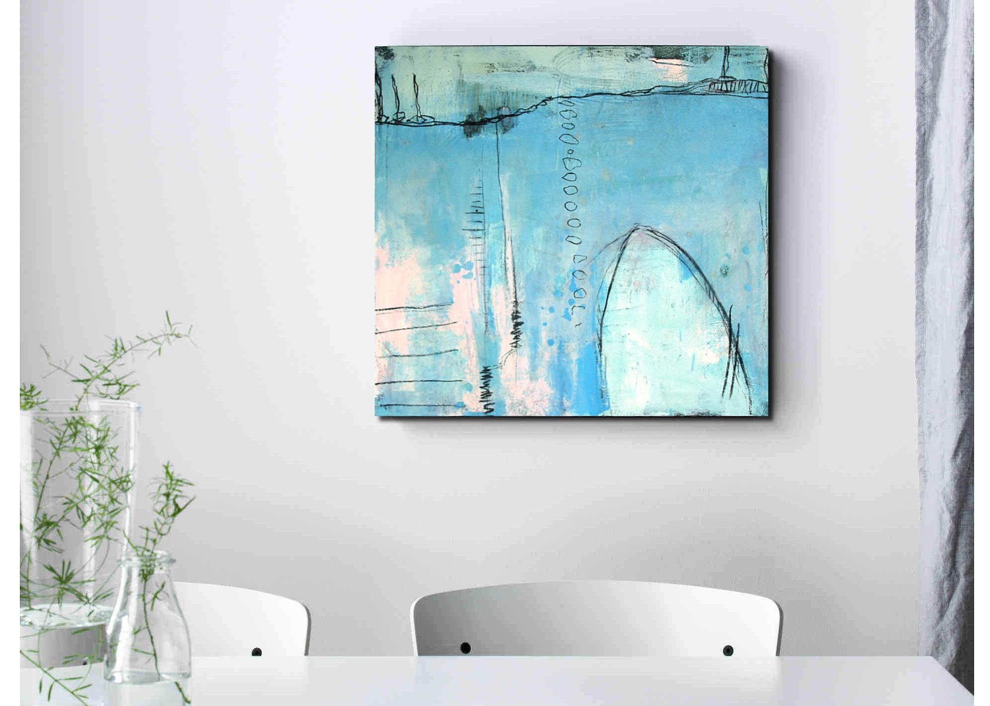 Blaues Bild Hafenlandschaft im Raum