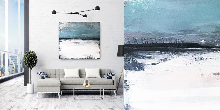 abstraktes Bild blau weiß