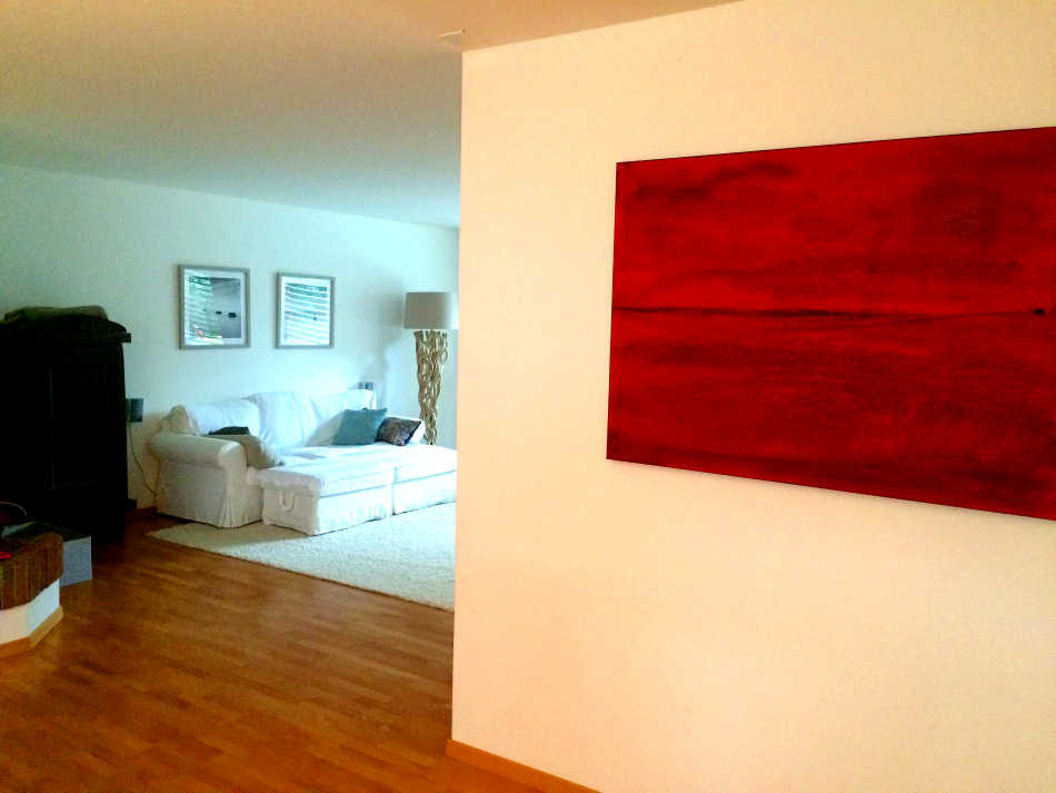 rotes gemaltes Auftragsbild