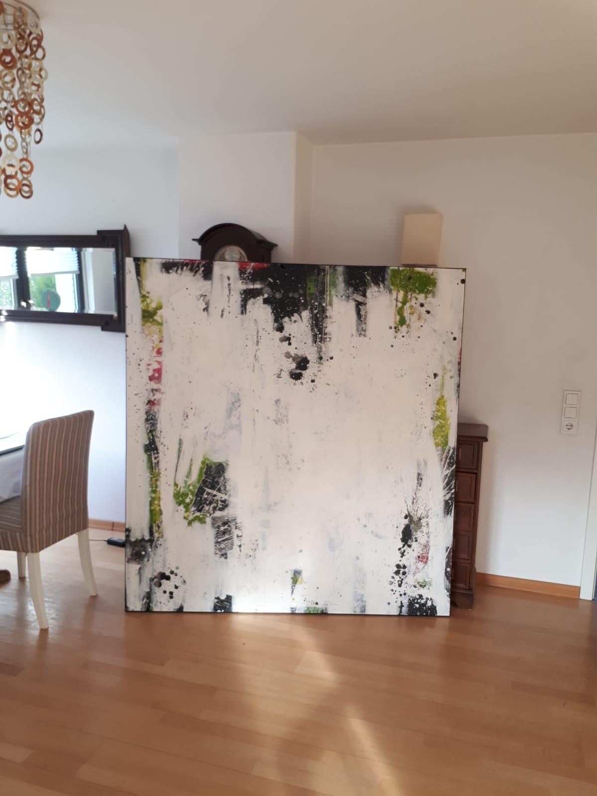 Gemälde weisse abstrakte Spachtelarbeit