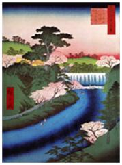 広重「王子音無川堰セキ世俗大滝ト唱」1857(安政4年)