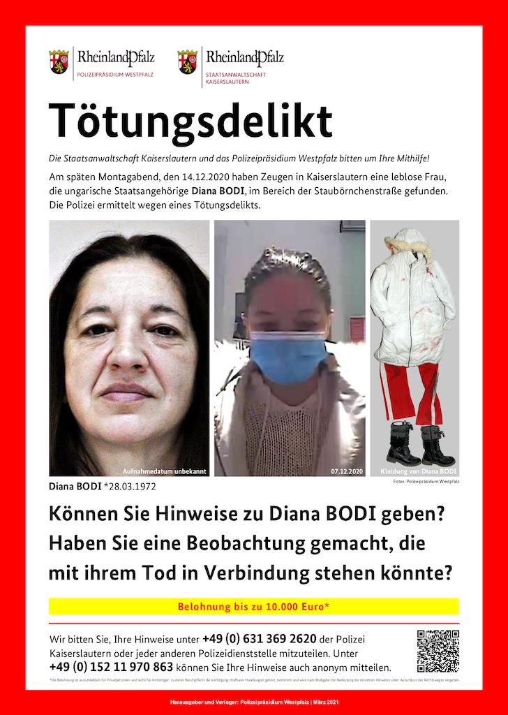 Polizei Kaiserslautern will den Tod von einer 48-jährigen Frau aufklären - 10.000 Euro Belohnung ausgesetzt