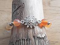 Karneol Edelstein Armband mit Sonne