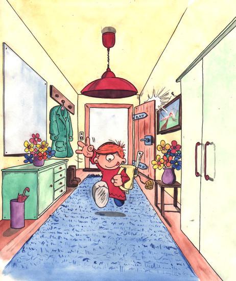 Marvin kommt von der Schule nach Hause