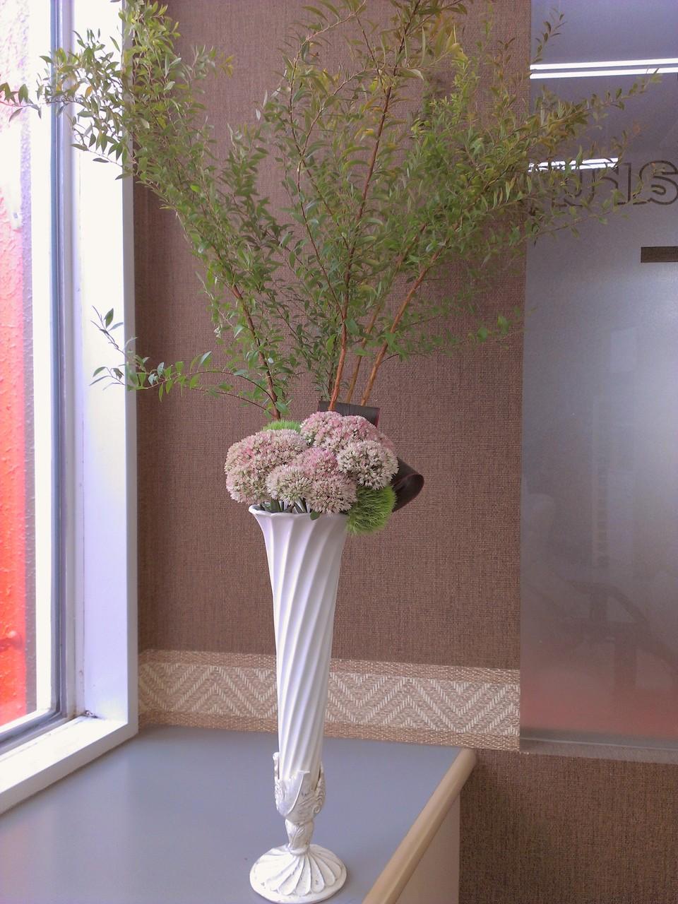 2014.09.10 セダム(別名:万年草)、テマリグサ(別名:グリーントリュフ)、ドラセナ、雪柳 ・モコモコとした白とピンクがかわいいお花セダムと、その横でマリモのようなテマリ草、赤い縁取りの葉、ドラセナを添えて、ひときわ花瓶から高くそびえる雪柳が青々と茂りダイナミックなアレンジメントです。花言葉: セダム【静寂、落ち着き、記憶】、テマリ草【思慕、才能】、雪柳【愛嬌、自由気まま、殊勝】