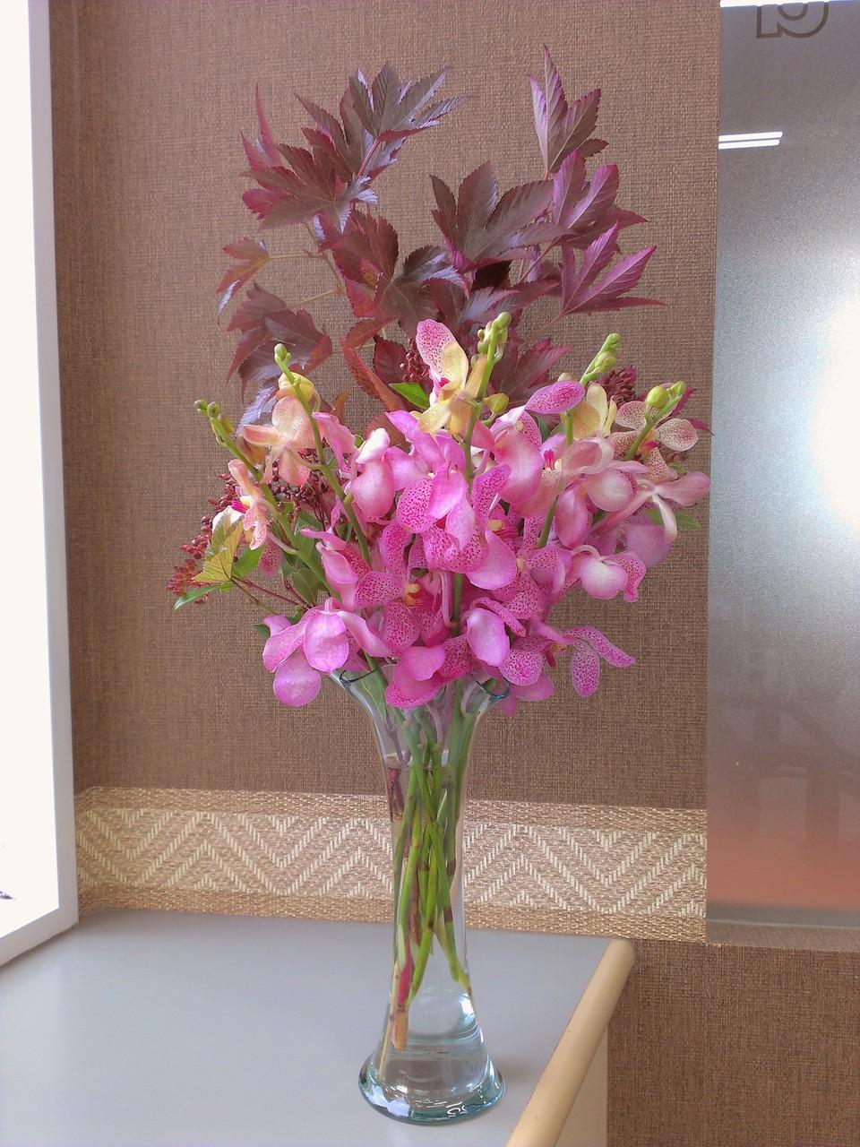 2014.10.15 デンファレ、キイチゴ、ビバーナムティナス(常盤ガマズミ) ・肉厚でかわいいピンク色をしたデンファレ、背が高く紫色した葉っぱがまるで人間の手の平を広げたような形をしているキイチゴ、赤紫色した実がたわわに実っているのがビバーナムティナスです。秋めくピンク色を基調としたお花たちです。花言葉 デンファレ【お似合いの二人】、キイチゴ【謙遜、尊重される】、ビバーナムティナス【私を見て】