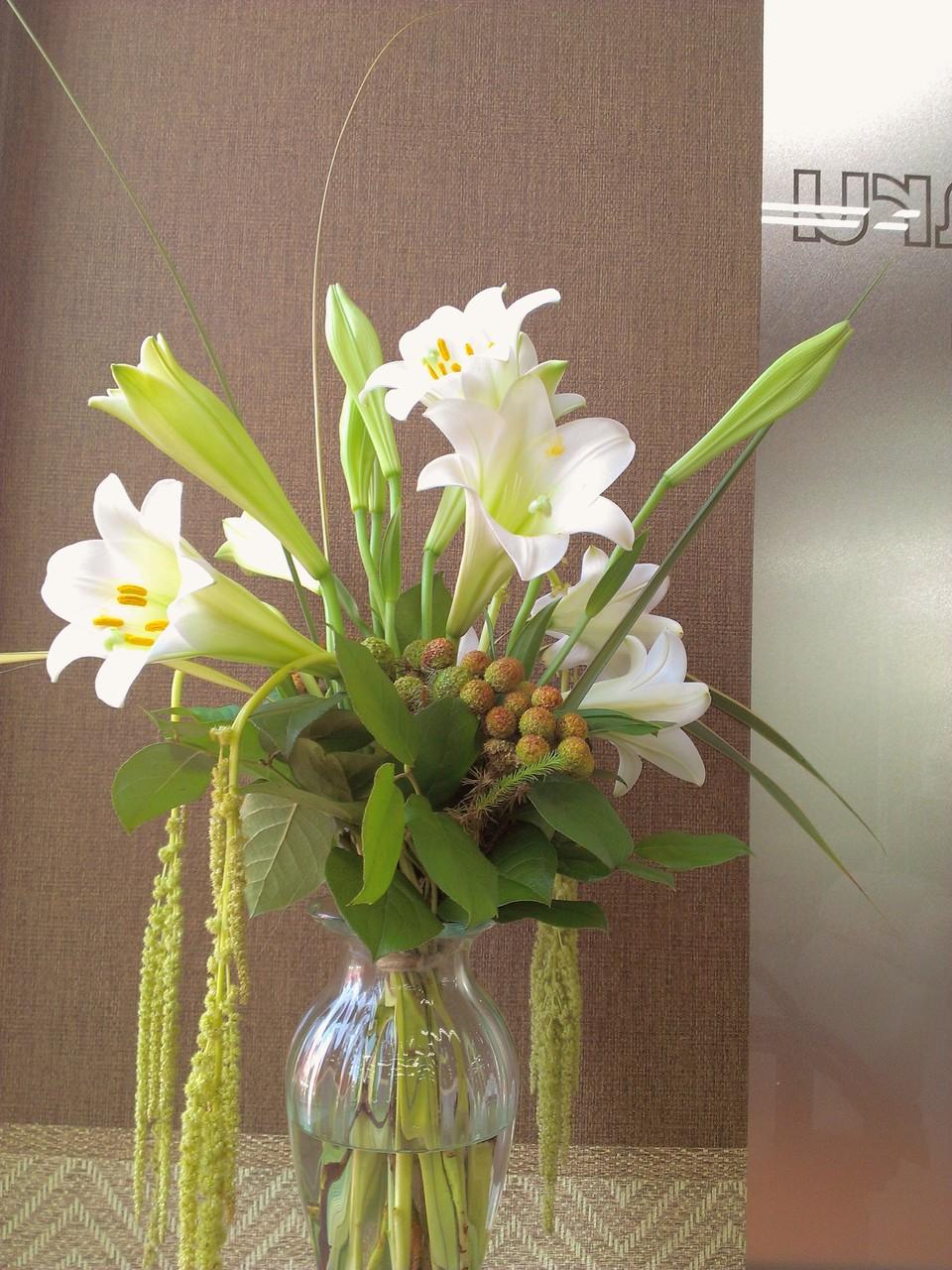 2014.07.16  テッポウユリ、バーゼリア、アマランサス、レモンリーフ ・白く可憐に咲くテッポウユリと中央にコロンと丸く膨らんだバーゼリア、花瓶から逃げ出すように垂れ下がるアマランサス。個性豊かなお花が上下左右どちらからでも楽しめるアレンジメントとなっております。花言葉:テッポウユリ【無垢・純潔】、バーゼリア【小さな勇気】、アマランサス【不老不死】と言うそうです。個性の強いお花をまとめるのがつややかな緑色の葉っぱでレモンリーフ。これはレモンの形に葉っぱが似ている事から名付られたそうです。単純(笑)