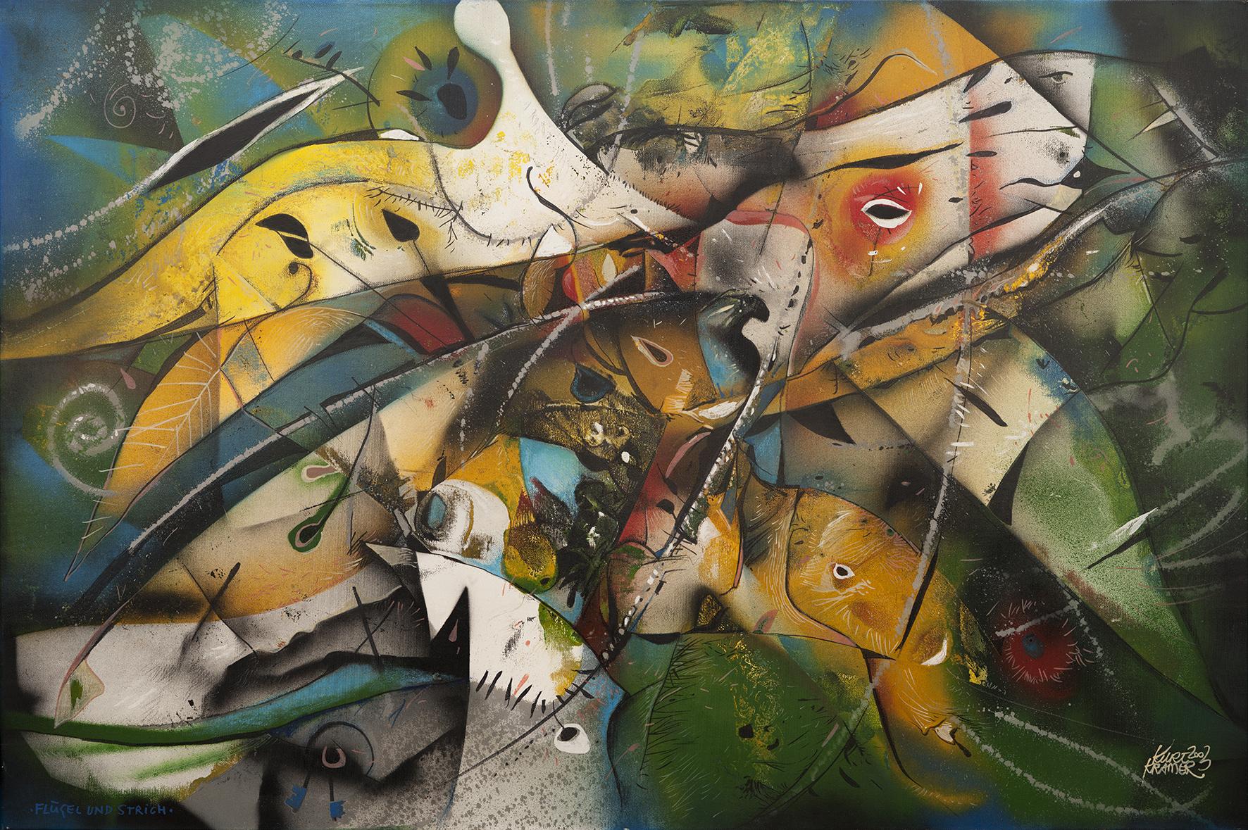 Flügel und Strich, 2003 (Öl, 80x120cm)