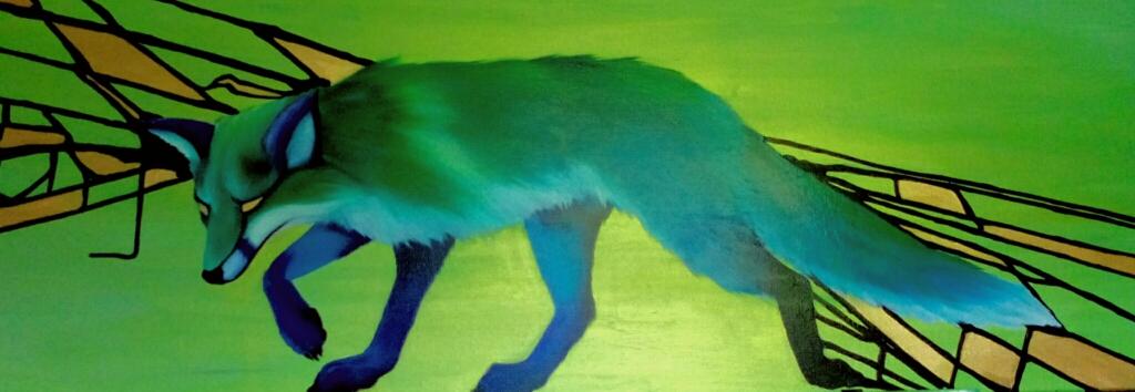 Fuchs,  Öl auf Leinwand  120x40cm, irisierender Grund, Flächen in Gold