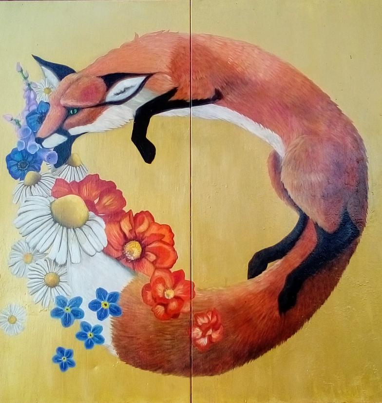 Fuchs mit Blüten, Öl auf Goldgrund/Metallregalböden, 100x100 cm