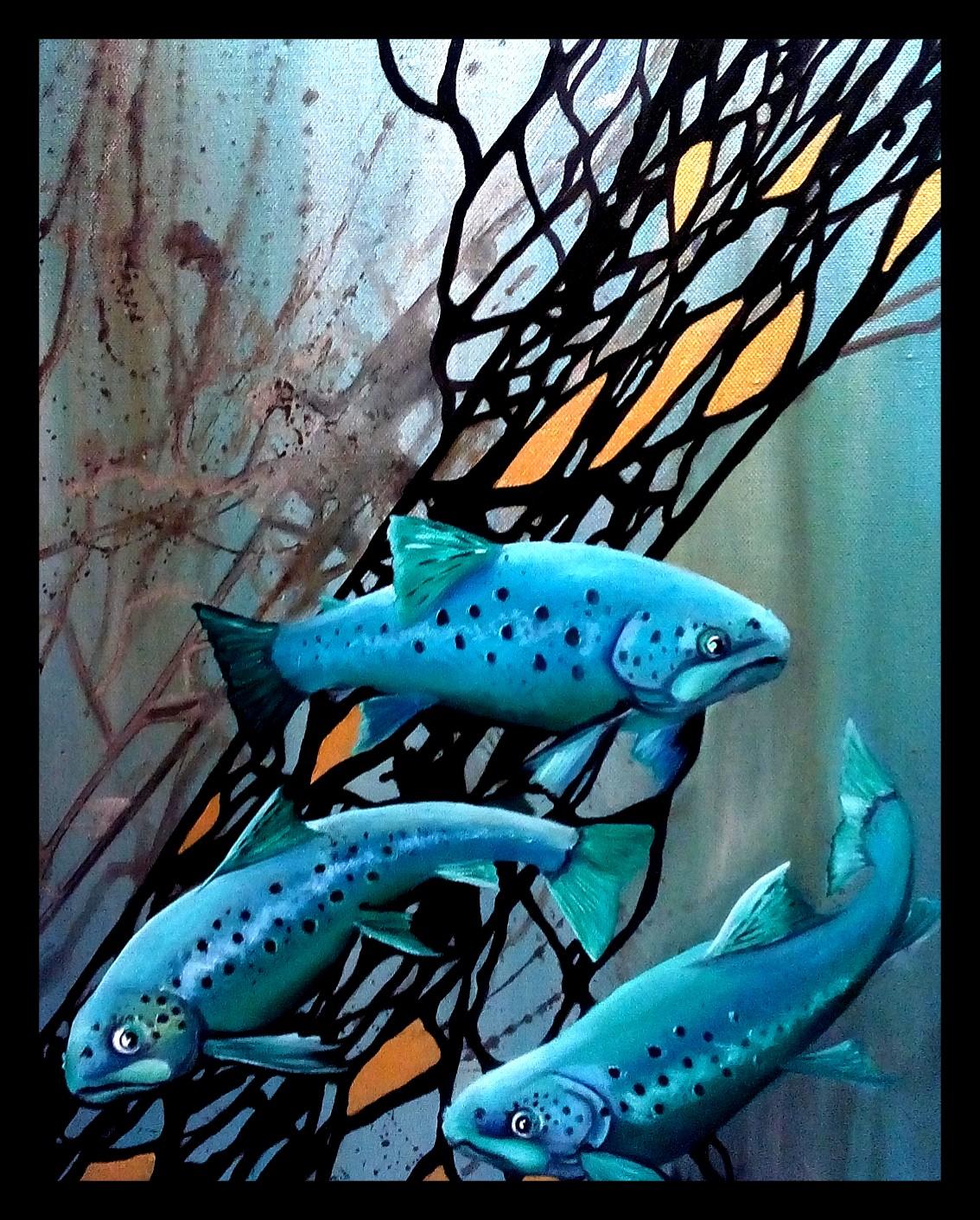 Forellen, Öl auf Leinwand 40x50cm, irisierender Grund, Flächen in Gold