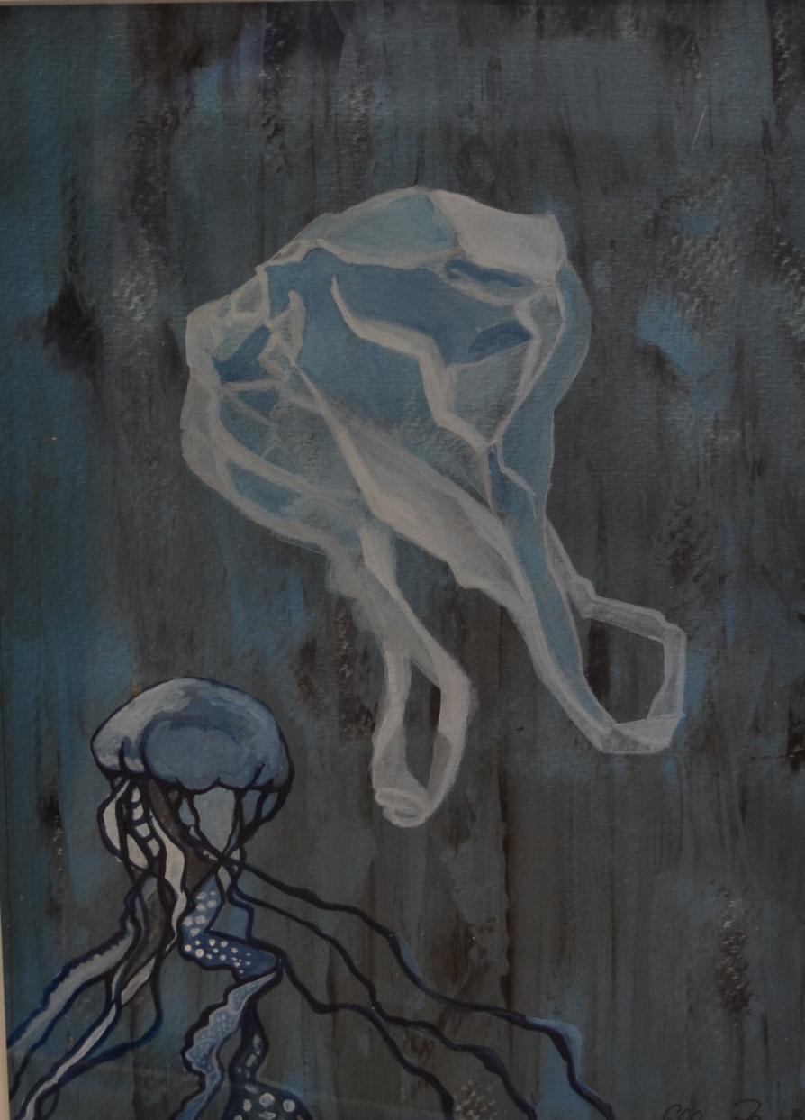 Blue Planet 1, Mischtechnik/Öl/Acryl, 20x29 cm, irisierender Grund