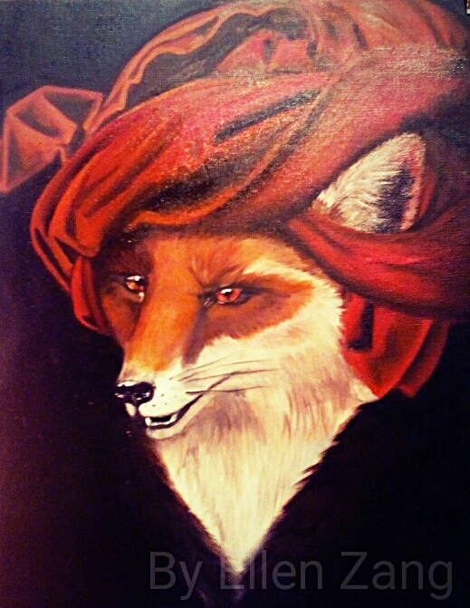 Fuchs mit Turban, Öl auf Leinwandmalgrund 33x41 cm