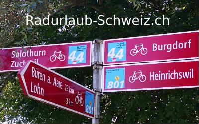 Veloferien Schweiz: Sternvelotouren Mittelland und Rundtouren Schweiz