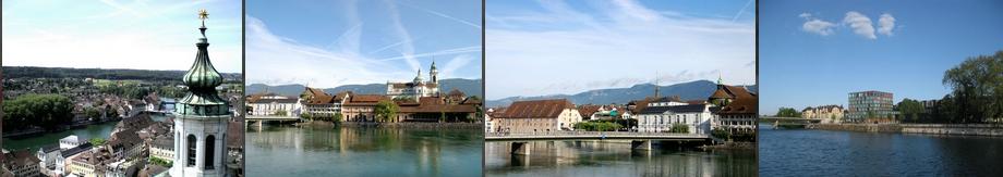 vier Bilder der Stadt Solothurn, von oben und über die Aare, der Ausgangspunkt für Städtereisen in die ganze Schweiz