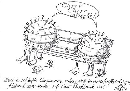R.Egenschirm (2 erschöpfte Coronaviren ruhen sich in vorschriftsmäßigem Abstand zueinander...aus)