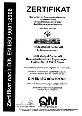 血液净化 德国INUS环境代谢毒素双模靶向干预系统 证书