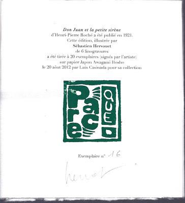 Achevé d'imprimer du livre de Sébastien Hervouet et Henri-Pierre Roché