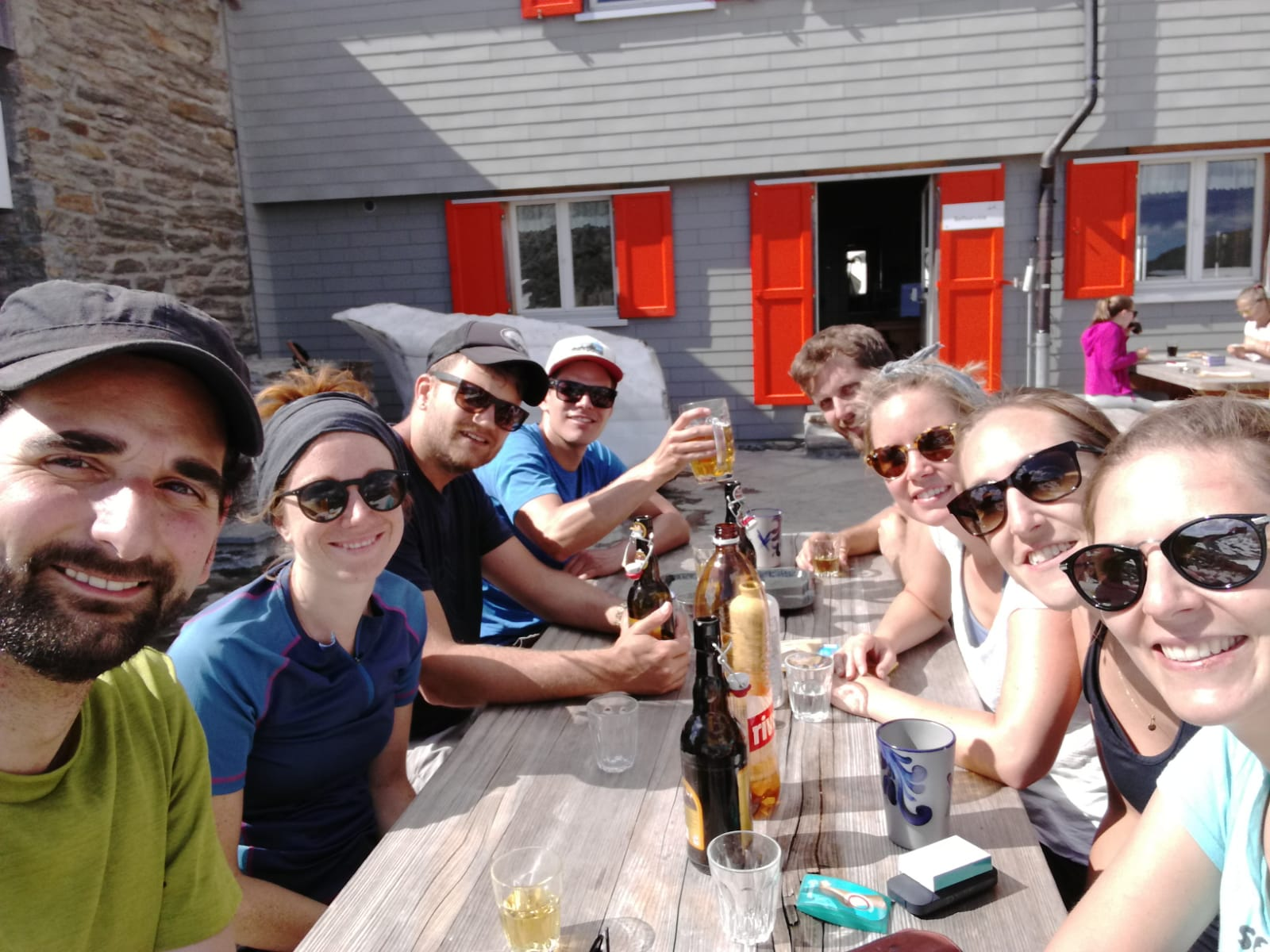 """""""We made it!"""" well deserved refreshment at the top"""
