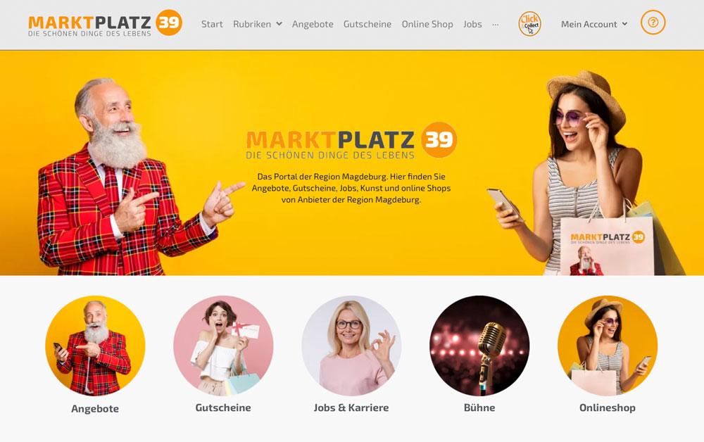 Die Startseite des Portals www.MARKTPLATZ39.de