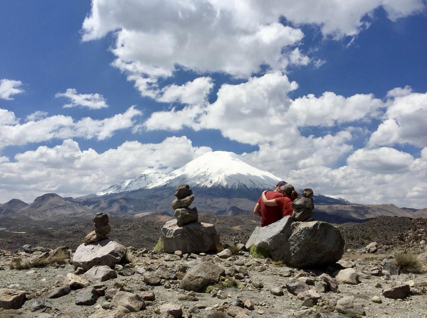 Wir beim Vulkan Parinacota