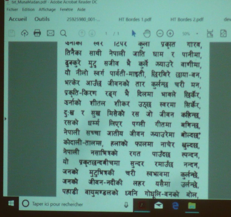 Texte en langue népalaise