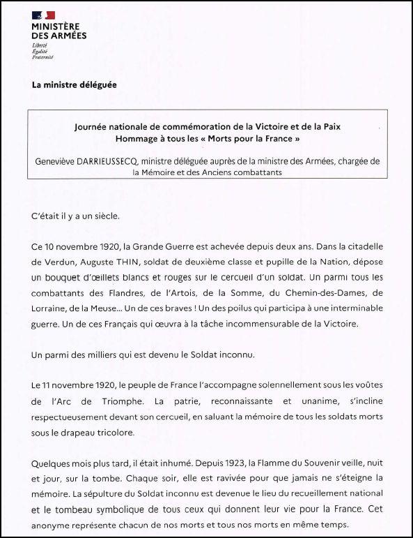 Hommage à tous les morts pour la France - Geneviève DARIEUSSECQ, ministre déléguée auprès de la ministre des Armées, chargée de la mémoire et des anciens combattants