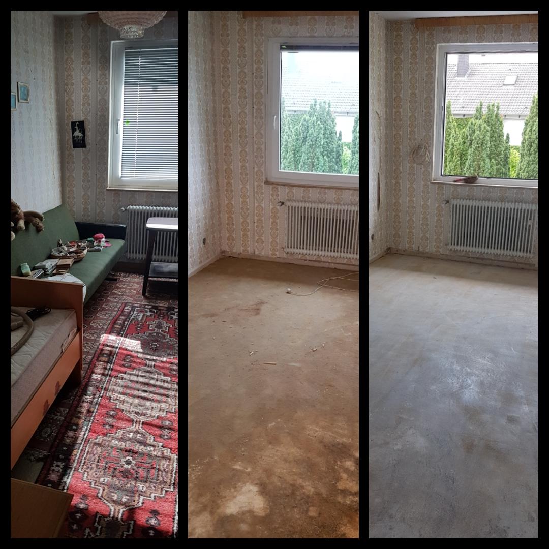 Fachgerechte Entsorgung der Möbel des Bodens und der Klebeschicht.