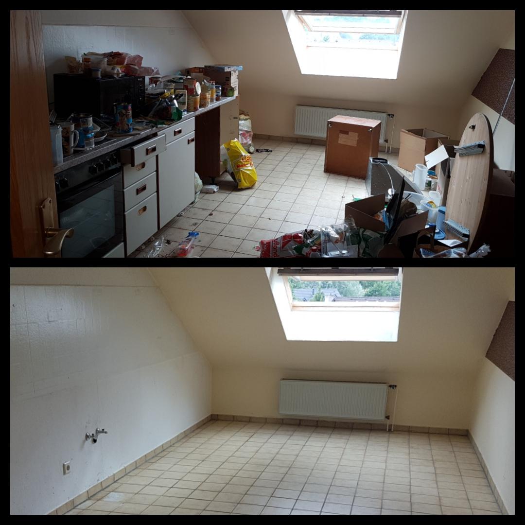 Küchendemontage mit anschließender Reinigung/Desinfizierung.