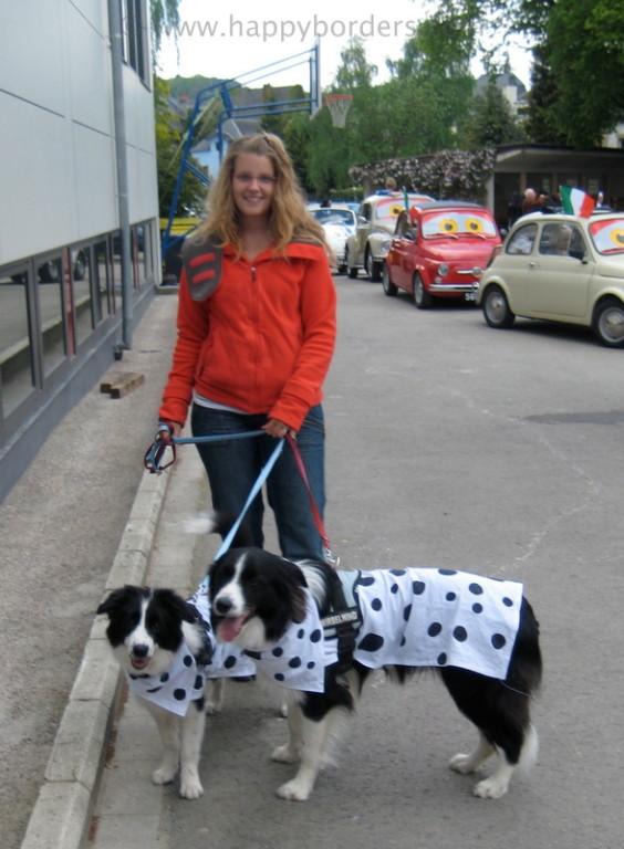 """Joëlle mit ihren """"Dalmatinern"""" Jay und Mia"""