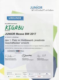 """1. Platz bei der Junior Messe für die """"kreativste Geschäftsidee"""""""
