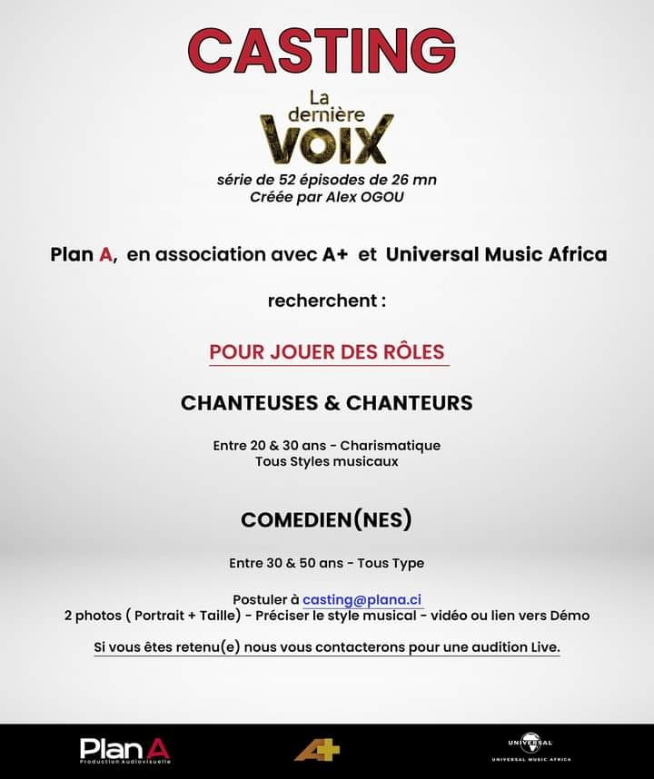 COTE D'IVOIRE : casting pour une série de 52 épisodes