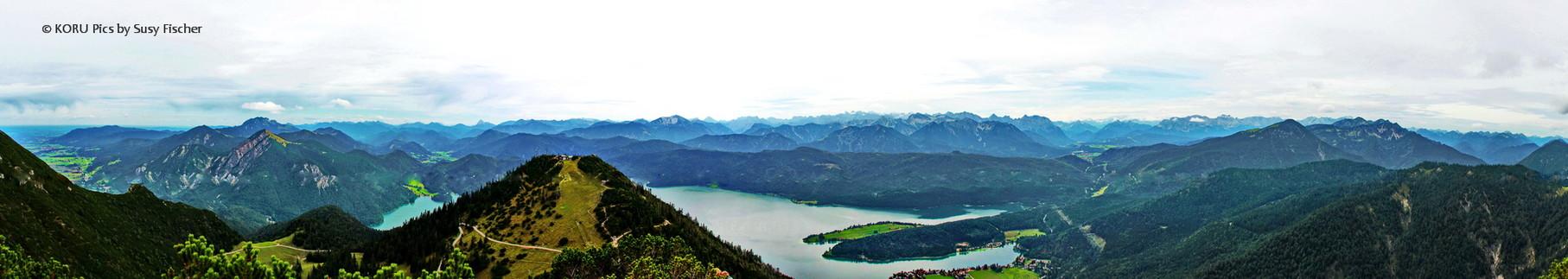 Panorama vom Herzogstand aus auf den Walchensee