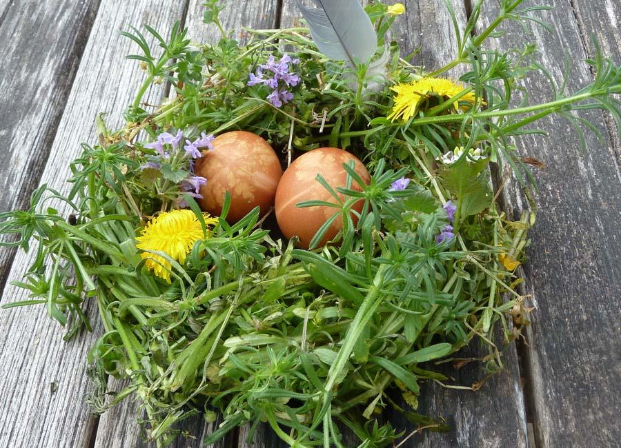 Blütenkranz als Osternest