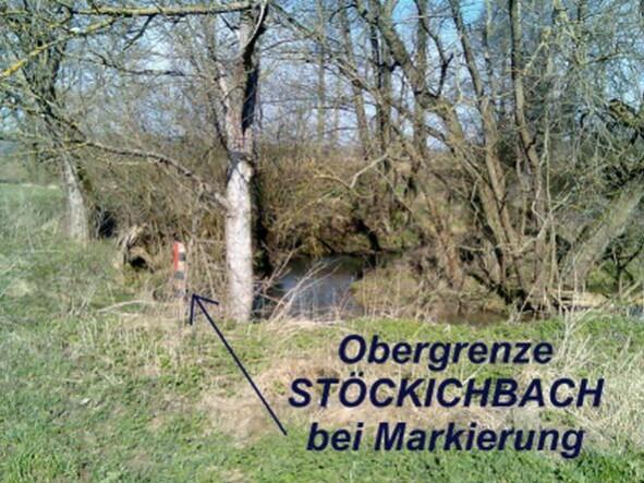 Obergrenze Stöckigtbach bei Markierung