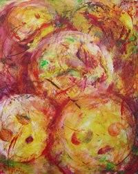 L'oeuvre colorée de Mayaki peinte en direct.