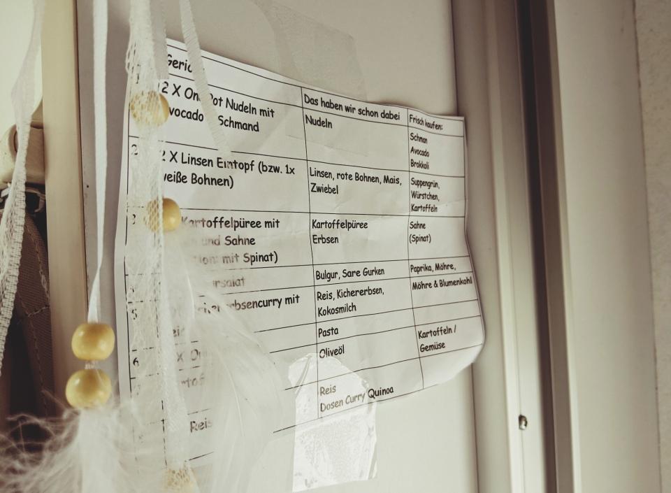 Der Menü-Plan hängt über der Küchenzeile