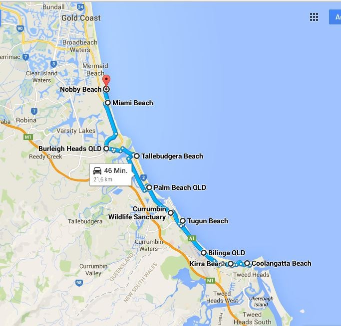 Schon witzig, wie die Strände in Surfers Paradise so heißen... (Quelle: Google Maps)