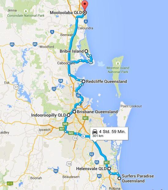 Wir haben Brisbane erreicht... (Quelle: Google Maps)