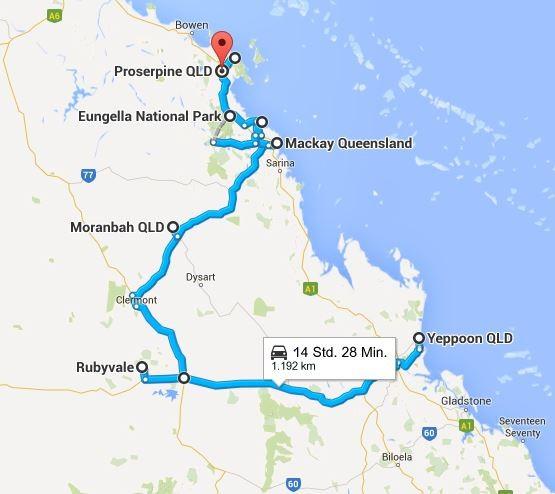 Einmal Outback und zurück... (Quelle: Google Maps)
